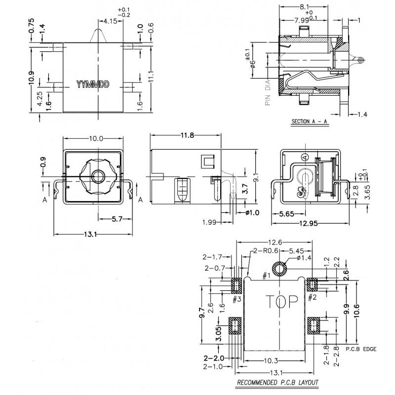 Разъем питания ноутбука HP тип G028S 1.65мм  datasheet